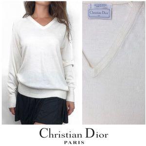 Christian Dior White Pullover Cardigan Knit VNeck